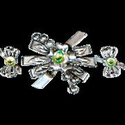 SALE Vintage 1940's Hobe Sterling Silver Green Floral Brooch Earring Set