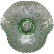Northwood Green Opalescent Spokes and Wheels Deep Ruffle Bowl