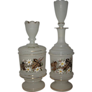 2 Piece White Frosted Bristol Glass Dresser Set