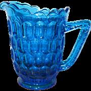 Fenton Thumbprint Colonial Blue Cream Pitcher