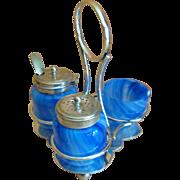 SOLD Cobalt Blue Swirl Glass Condiment Set
