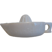 SALE Sunkist Embossed  Milk Glass Reamer, with Easy Grip Handle