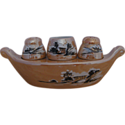 REDUCED Lusterware Gondola Salt and Pepper with Toothpick Holder
