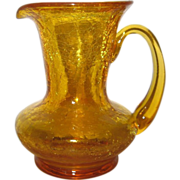 REDUCED Kanawha Amber Crackle Glass Small Pitcher