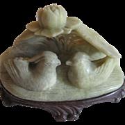 Soapstone Carved Mandarin Ducks Figurine