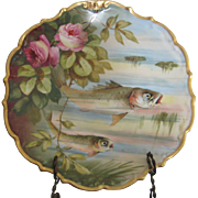 Limoges Charger/Wall Plate Handpainted Fish and Roses From the Flambeau China Company
