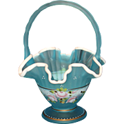 Fenton Charlton Collection Blue Satin Hand Painted Basket