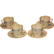 Set of 4 Belleek Harp Shamrock Cups and Saucers