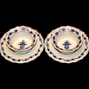 Pair of Meissen Flow Blue Ramekins
