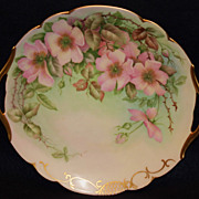 T & V Limoges Hand Painted Cake Plate with Wild Roses