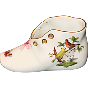 Herend Rothschild Bird Shoe with Pink Bow