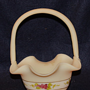 Hand Painted Custard Satin Basket with Grapes