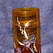 Pairpoint Amberina Vase with Butterflies