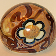 J Byron Floral Art Glass Paperweight
