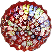 Peter McDougall Crimped Edge Millefiori Paperweight