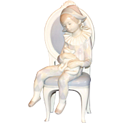 Lladro Harlequin Figurine in Chair with Cat