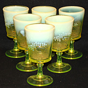 L G Wright Vaseline Opalescent Strawberry & Currants Set of 6 Goblets