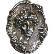 RARE Art Nouveau Sterling Silver Brooch Lady Head  Deep Repousse  Large  Exquisite