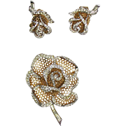 Stunning Vintage Boucher Brooch & Earrings Set Rose ~ Signed ~ Sparkle