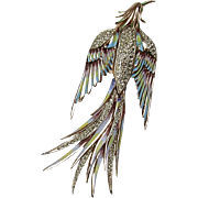 Vintage CoroCraft Rose Gold Vermeil Flying Bird Brooch  Enamel Accents  Sparkly Rhinestones  .