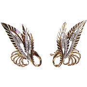 Gorgeous Retro 18K Rose Gold Diamonds Clip Earrings  Abstract Leaves  Big & Bold