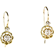 Delicate Victorian 18K Gold Diamond .40ctw Drop Earrings  Belcher Style  Old Mine  Lovely