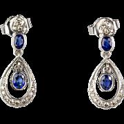 Gorgeous Vintage 18K Gold Diamond .36ctw Sapphire 1.15ctw Drop Earrings Lovely Delicate Design