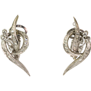 Stunning 18K White Gold Diamond Pierced Earrings Delicate Retro c.1940s