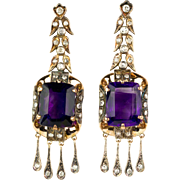 Spectacular Retro 14K Rose Gold Amethyst & Diamond Earrings Big & Bold One of a Kind