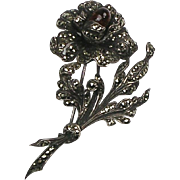 Stunning French Art Deco Marcasite Pin Sterling ~ 3D Flower ~ Quality  RARE