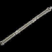Stunning Art Deco Otis Sterling Silver Line Bracelet  2 Row White Sparkly Rhinestones  Top ...