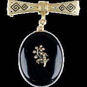 Victorian Black Enamel Mourning Locket on 14K Gold Enamel Bar Pin   Chatelaine Pin   Beautiful