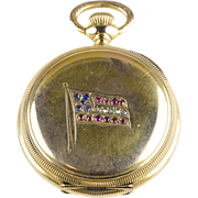 Victorian c1898 Waltham Pocket Watch American Flag Diamonds Rubies Sapphires RARE