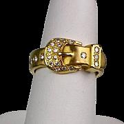 Vintage 18K Gold Diamond .35 ctw Buckle Ring  Beautiful Design  Unisex