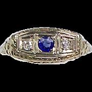 Vintage Art Deco 14K Gold Diamond Sapphire Ring  Lovely  Filigree  Horizontal Setting
