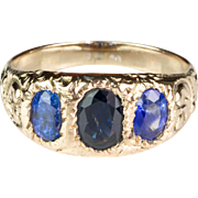 Gorgeous Victorian 18K Gold Sapphire Gypsy Ring  Deep Chasing  Lovely Design