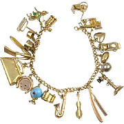 Vintage Loaded Sterling GF Charm Bracelet 20 Fun Charms Some Move Delicate