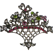 RARE Antique Victorian Sterling Brooch Colored Paste Bouquet in Basket
