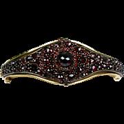 Stunning Vintage 14K Gold Bohemian Garnet Bangle Bracelet  Rich Color  Top Quality  RARE