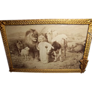 SOLD Gilt Bronze Frame with 1896 Print in Art Nouveau Style