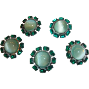 Vintage Glass and Rhinestone Buttons in Brilliant Holiday Green