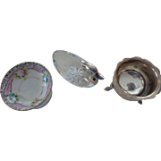 Three Salt Dishes: Sterling,Noritake,Crystal
