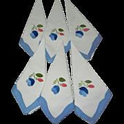 6 Vintage Appliqued White with Blue Linen Napkins