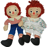 "1960's 15"" Raggedy Ann (Unusual Dress) and Raggedy Andy"