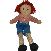 Vintage Handmade Raggedy Andy with Shoe Button Eyes