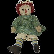 "Vintage 1940's Handmade 19"" Raggedy Ann Doll"