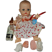 1957 Vogue SE Ginnette with Bottle in HTF Valentine Outfit with Heart Wrist Tag