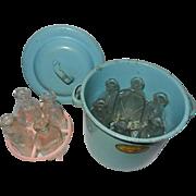 Amsco Toy Blue Metal Bottle Sterilizer & Ten Amsco Doll Glass Bottles