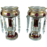 """Stunning Antique 11"""" German Glass Clear & Cranberry Candle Lustres Lusters Holders Sp"""