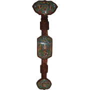 Ruji or Ruyi Scepter.  Chinese Wood and Cloisonne.  Early 20th Century